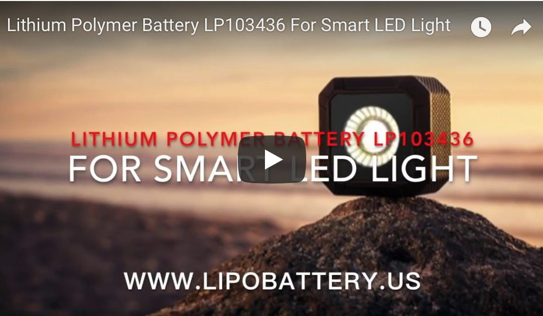 Lithium Polymer Battery LP103436 3.7V 1050mAh for Smart LED light