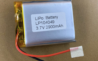3.7V Rechargeable lithium polymer battery LP104049 2900mAh with a safety circuit and 50mm wires