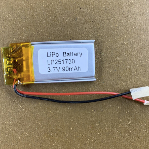 Thin Lithium Polymer Batteries LP251730 90mAh with protection circuits