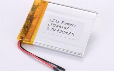 Rechargeable lithium polymer batteries LP244147 520mAh