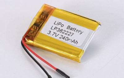 Rechargeable lithium polymer batteries LP362227 240mAh