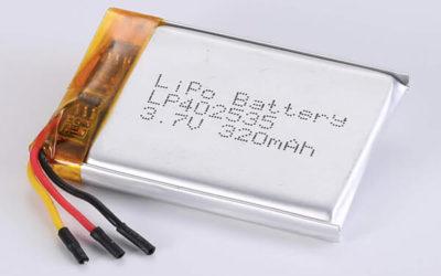 Rechargeable lithium polymer batteries LP402535 320mAh