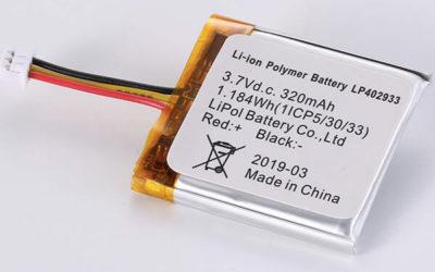 Rechargeable lithium polymer batteries LP402933 320mAh