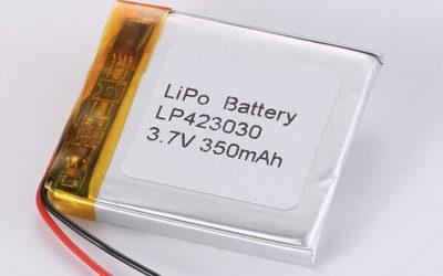 Rechargeable lithium polymer batteries LP423030 350mAh