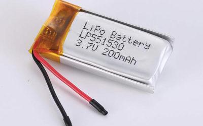 Rechargeable lithium polymer batteries LP551530 200mAh