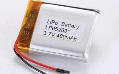 Rechargeable lithium polymer batteries LP652631 480mAh