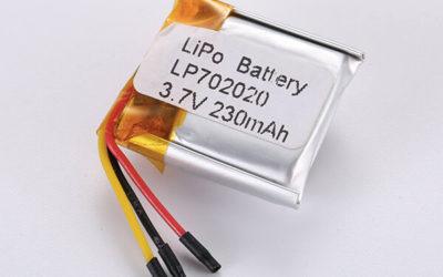 Rechargeable lithium polymer batteries LP702020 230mAh