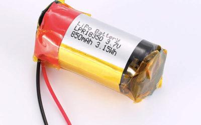 Standard lithium polymer batteries LPR18350 850mAh