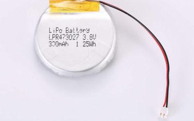 Rechargeable lithium polymer batteries LPR473027 330mAh