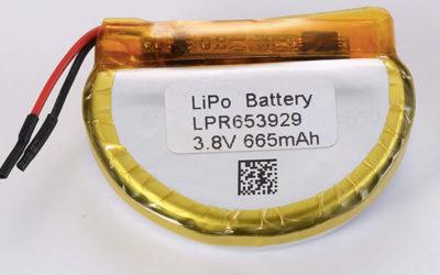 Rechargeable lithium polymer batteries LPR653929 665mAh