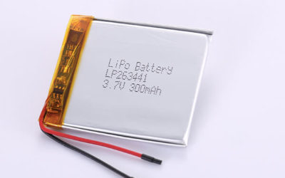 3.7V Rechargeable Hot Selling Lithium Polymer Batteries LP263441 300mAh with 1.11Wh