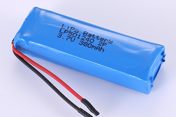 3.7V Rechargeable Hot Selling Lithium Polymer Batteries LP501240 380mAh with 1.406Wh