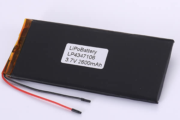 Rechargeable Lithium Polymer Batteries LP4347106 3.7V 2600mAh with 9.62Wh