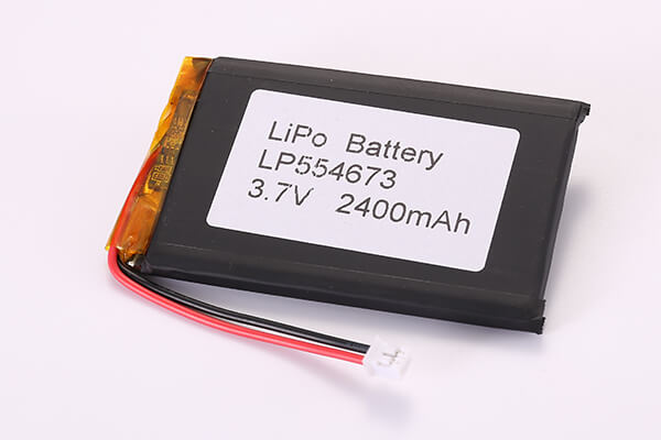 3.7V Rechargeable Hot Selling Lithium Polymer Batteries With JST PHR-2 LP554673 2400mAh 8.88Wh
