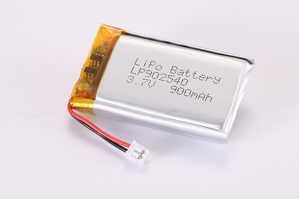 3.7V Rechargeable Lithium Polymer Batteries With JST ZHR-2 LP902540 900mAh 3.33Wh