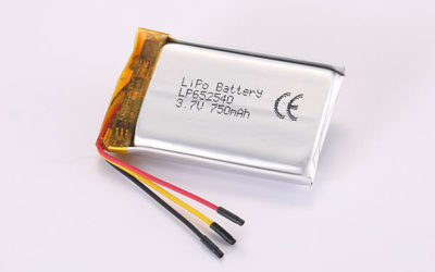 3.7V Standard Rechargeable Lithium Polymer Batteries With NTC LP652540 750mAh 2.775Wh